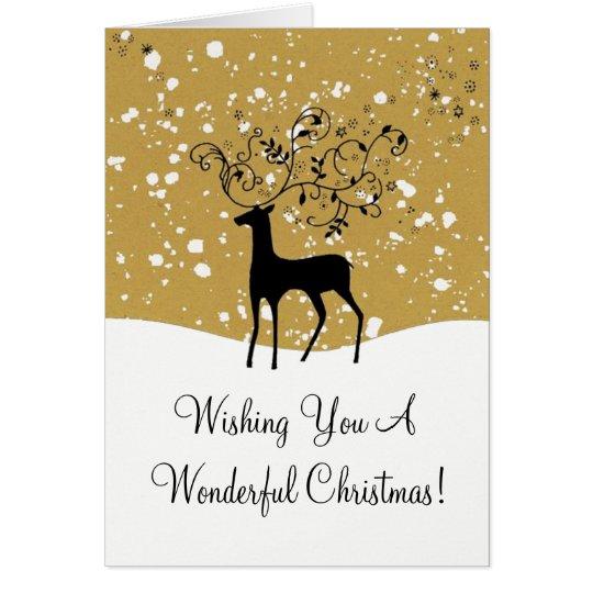 Golden Reindeer Xmas Card