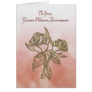 Golden Religious 50th Wedding Anniversary, Roses Greeting Card