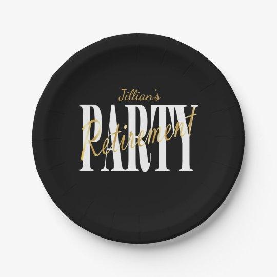 Golden Retirement Party Plates