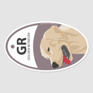 Golden Retriever 1 Oval Sticker