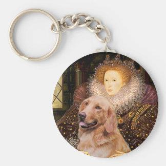 Golden Retriever #1 - Queen Elizabeth I Basic Round Button Key Ring