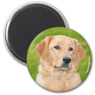 Golden Retriever 6 Cm Round Magnet