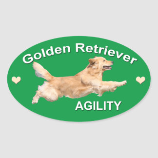 Golden Retriever Agility Decal Oval Sticker