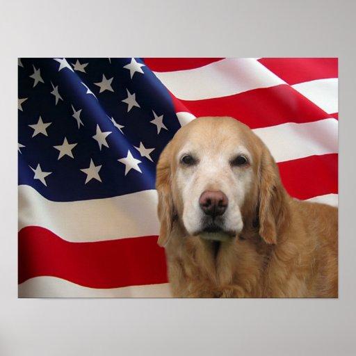 Golden Retriever American Flag Print