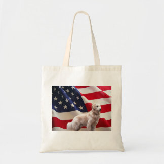 Golden Retriever American Flag Tote Bag