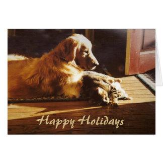 Golden Retriever and Cat Christmas Card