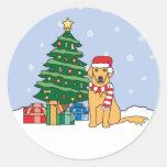 Golden Retriever and Christmas Tree Round Sticker