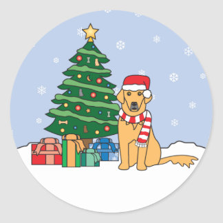 Golden Retriever and Christmas Tree Round Sticker