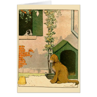 Golden Retriever and Dog House Card