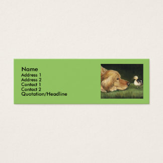 """Golden Retriever and Duckling"" Dog Art Label Mini Business Card"