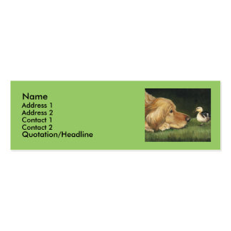 """""""Golden Retriever and Duckling"""" Dog Art Label Pack Of Skinny Business Cards"""