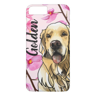 Golden Retriever and Orchids (Add Your Pet's Name) iPhone 8 Plus/7 Plus Case