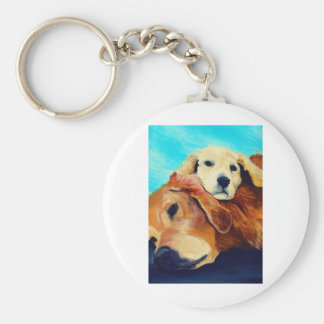 Golden Retriever and Puppy Key Ring