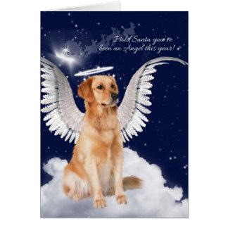 Golden Retriever Angel Dog Christmas Greeting Card