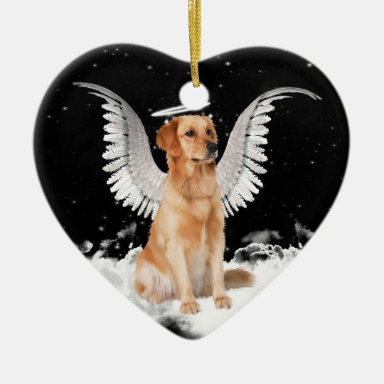 Golden Retriever Angel Dog Heart Christmas Ornament