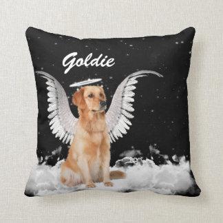 Golden Retriever Angel Dog with Name Cushion