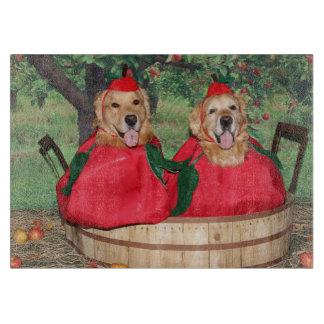 Golden Retriever Apples in a Basket Cutting Boards
