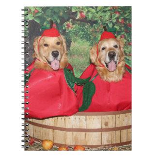Golden Retriever Apples in a Basket Spiral Notebook