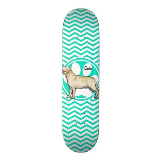 Golden Retriever; Aqua Green Chevron Skate Board Decks