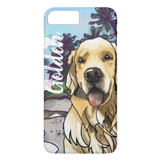 Golden Retriever at Beach (Add Your Pet's Name) iPhone 8 Plus/7 Plus Case