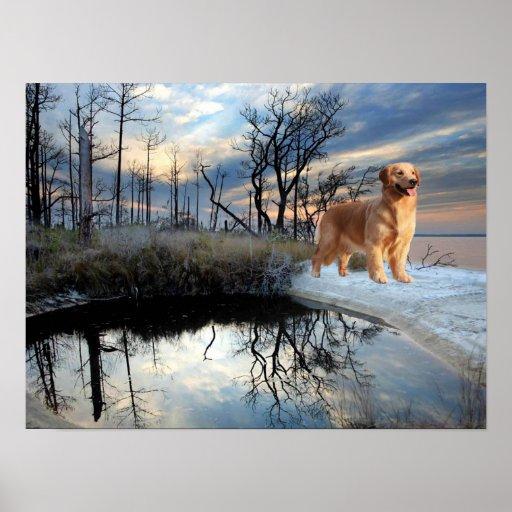 Golden Retriever At The Snowy Lake Print