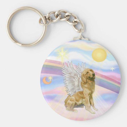 Golden Retriever Basic Round Button Key Ring