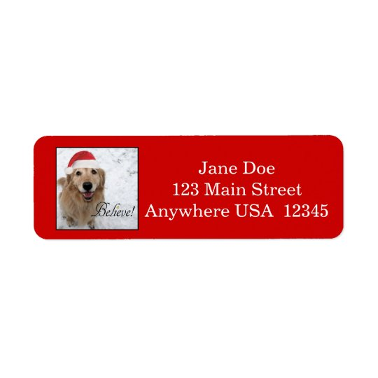Golden Retriever Believe Christmas Return Address Label