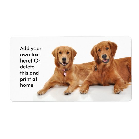 Golden Retriever Best Friends Shipping Label