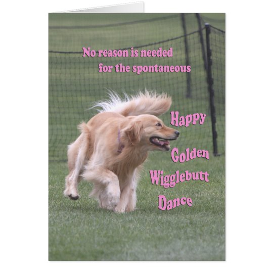 Golden Retriever Birthday Card 'Dance'