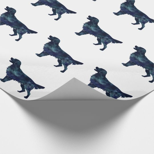 Golden Retriever Black Watercolor Silhouette Wrapping Paper