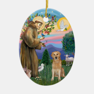 Golden Retriever Blessed by Saint Francis Christmas Ornament