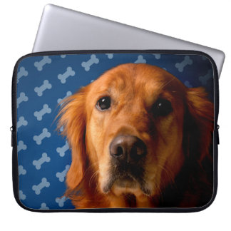 Golden Retriever blue bone background Laptop Sleeves