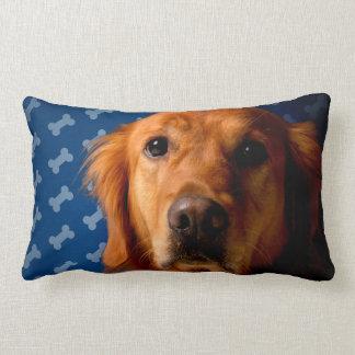 Golden Retriever blue bone background Lumbar Cushion