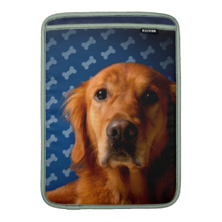 Golden Retriever blue bone background MacBook Sleeves