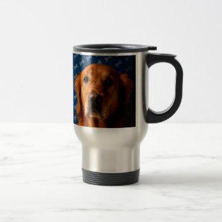 Golden Retriever blue bone background Stainless Steel Travel Mug