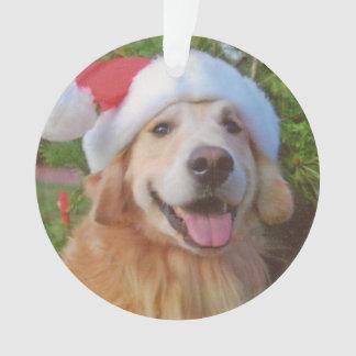 Golden Retriever Bob Christmas Hat Ornament