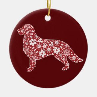 Golden Retriever, Boho Christmas Snowflakes Round Ceramic Decoration