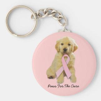 Golden Retriever Breast Cancer Keychain