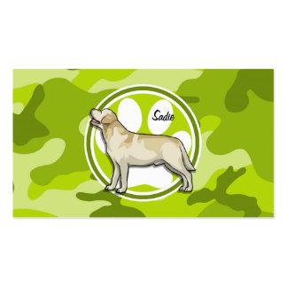 Golden Retriever bright green camo camouflage Business Card Template