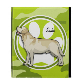Golden Retriever bright green camo camouflage iPad Folio Case