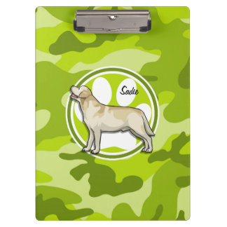 Golden Retriever bright green camo camouflage Clipboards