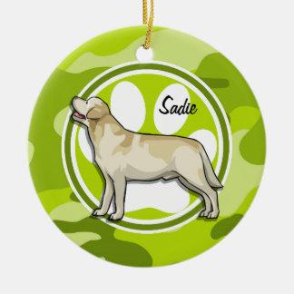 Golden Retriever bright green camo camouflage Christmas Tree Ornaments