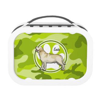 Golden Retriever bright green camo camouflage Yubo Lunchbox