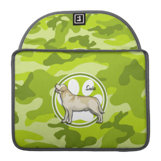 Golden Retriever bright green camo camouflage Sleeves For MacBook Pro