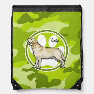 Golden Retriever bright green camo camouflage Backpacks