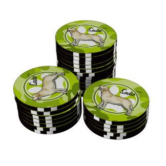 Golden Retriever bright green camo camouflage Poker Chips Set