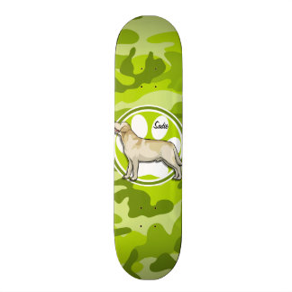 Golden Retriever; bright green camo, camouflage Skateboards