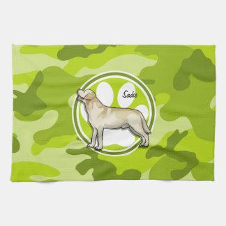 Golden Retriever bright green camo camouflage Towels