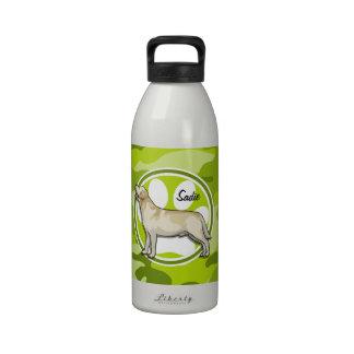 Golden Retriever bright green camo camouflage Water Bottles
