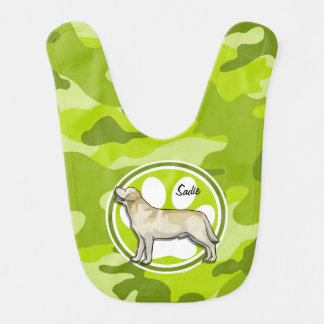 Golden Retriever bright green camo camouflage Baby Bibs